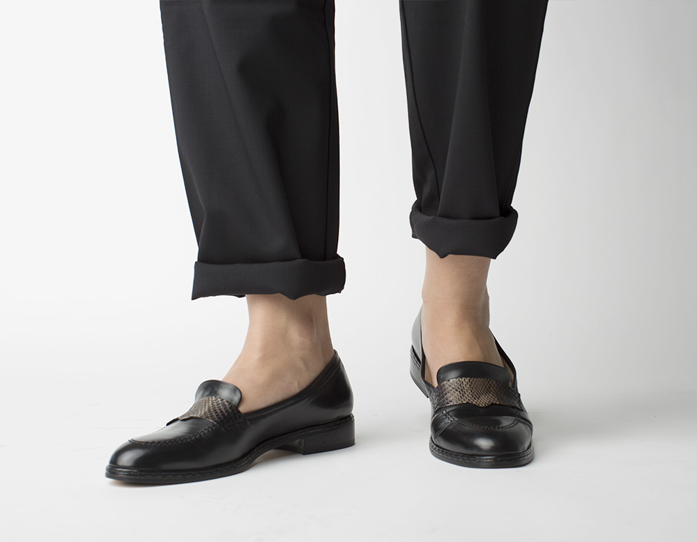 Leather Loafers, black