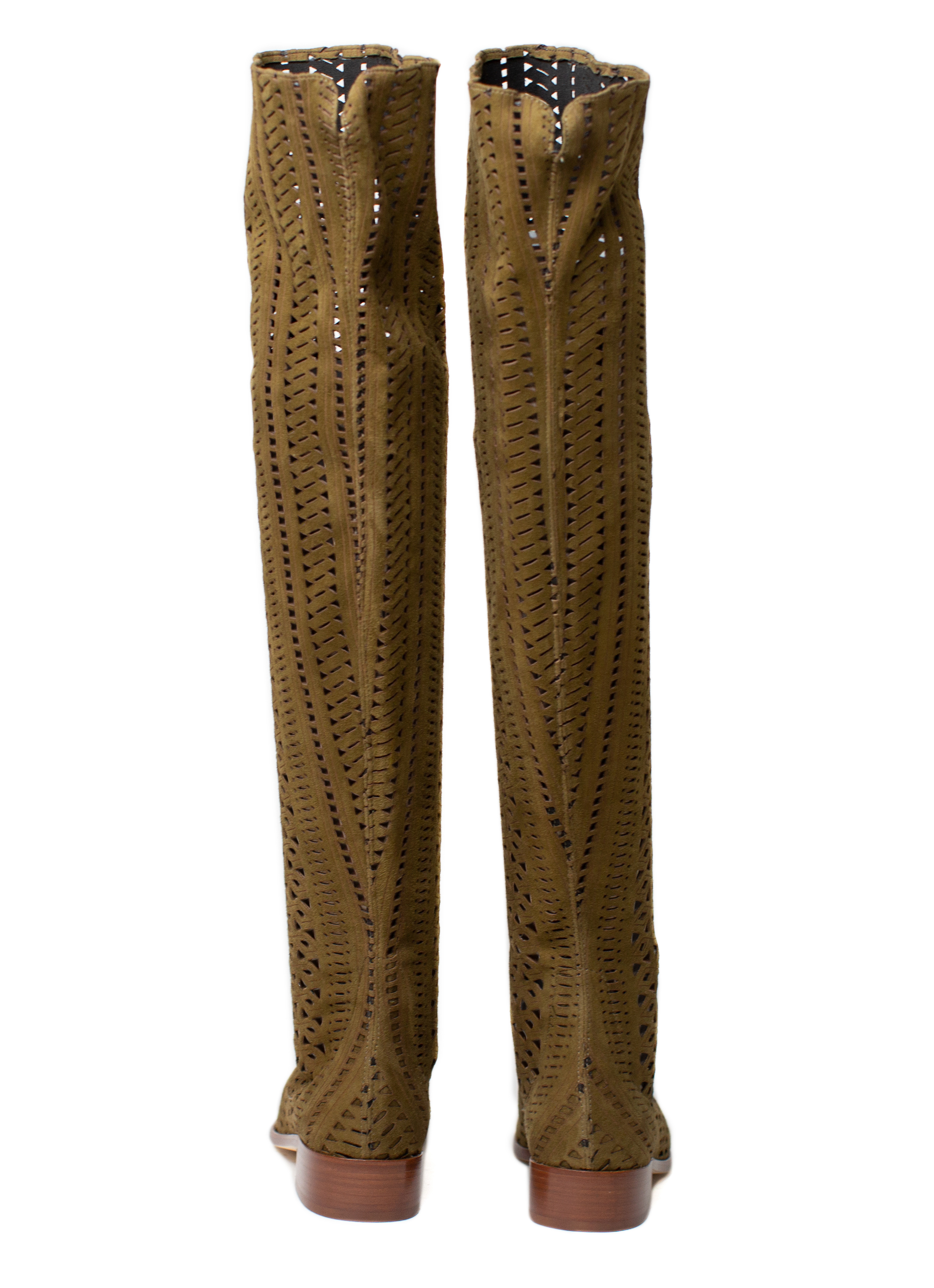 Overknee Boots Lasercut, olive