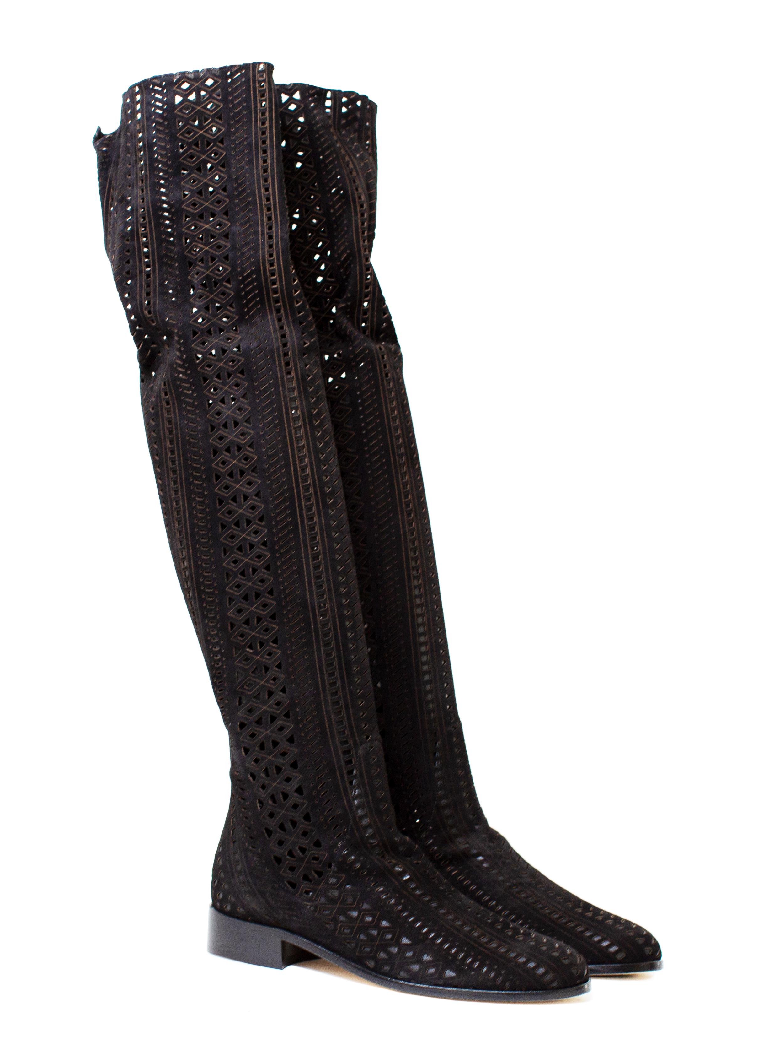 Overknee Boots Lasercut, black
