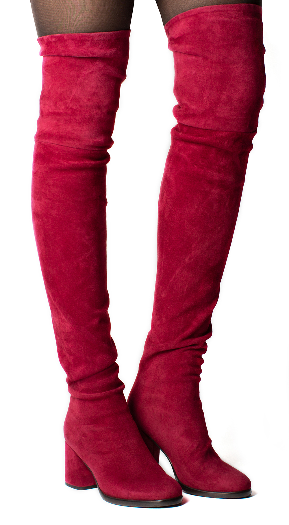Overknee Boots Suede Leather, red