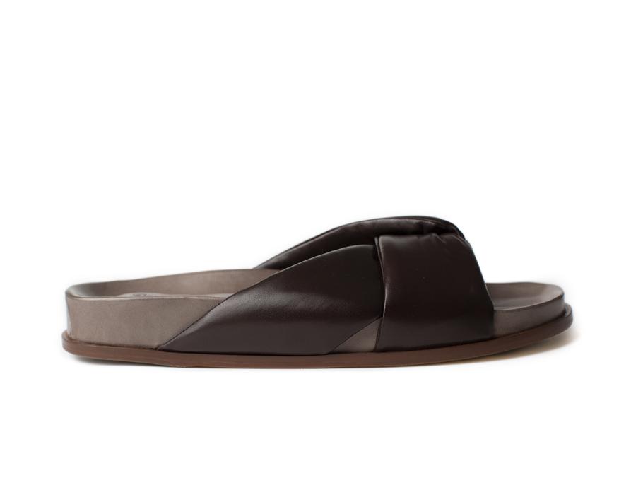 Flat Nappa sandals, bordeaux