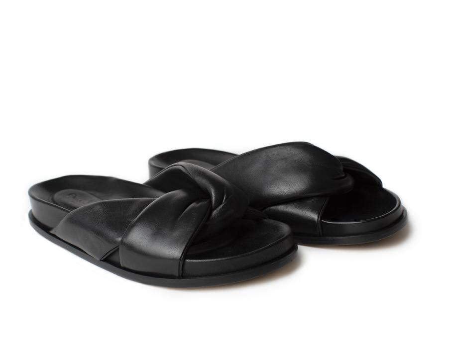 Flat Nappa Sandals, black