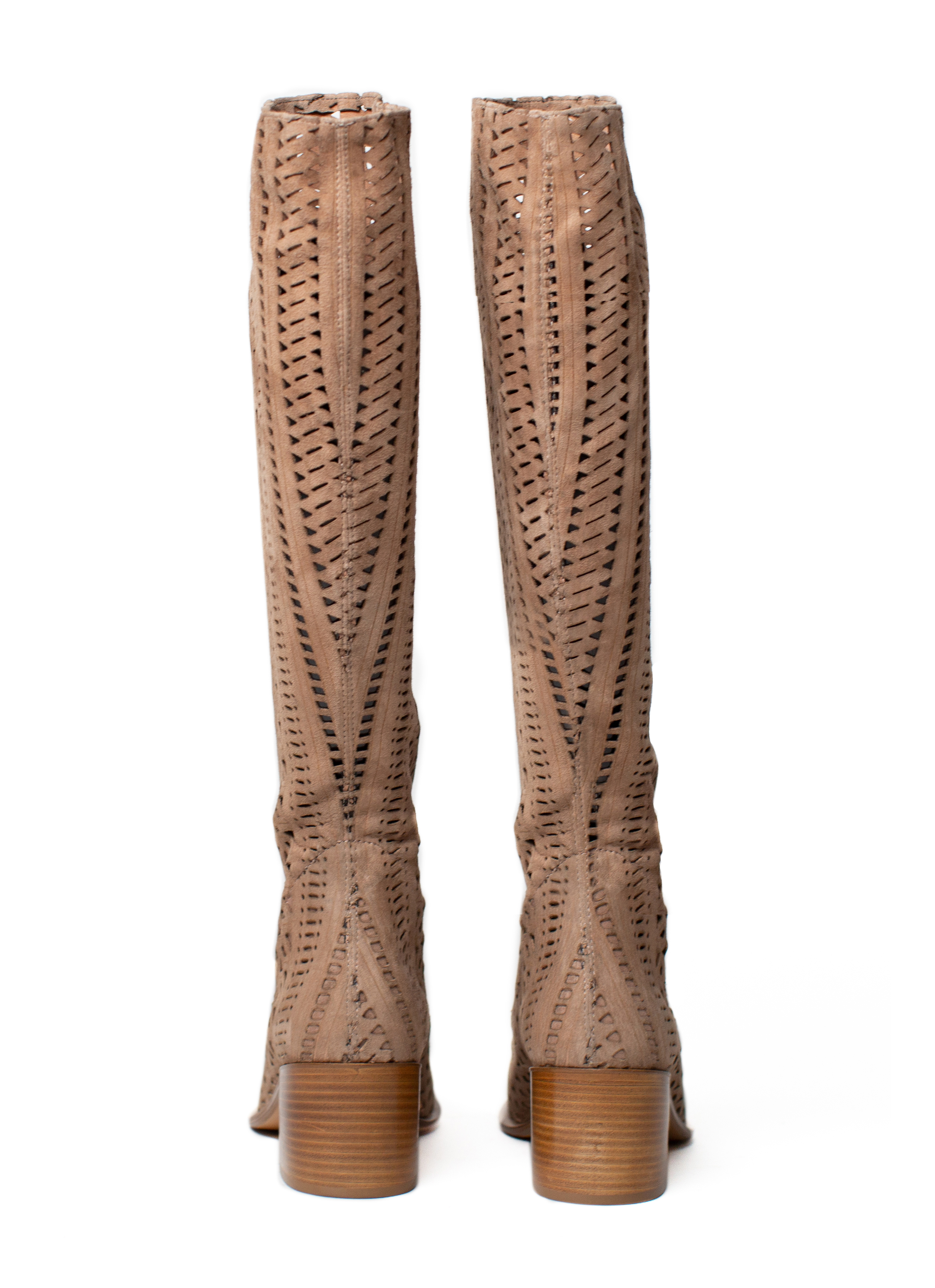 Sculptural Lasercut Suede Boots style details These light beige boots are a versatile wardrobe staple imbued with timeless appeal. Crafted in Italy from our signature smooth and stretchy laser-cut leather, they're cut to a knee-high silhouette that slouch