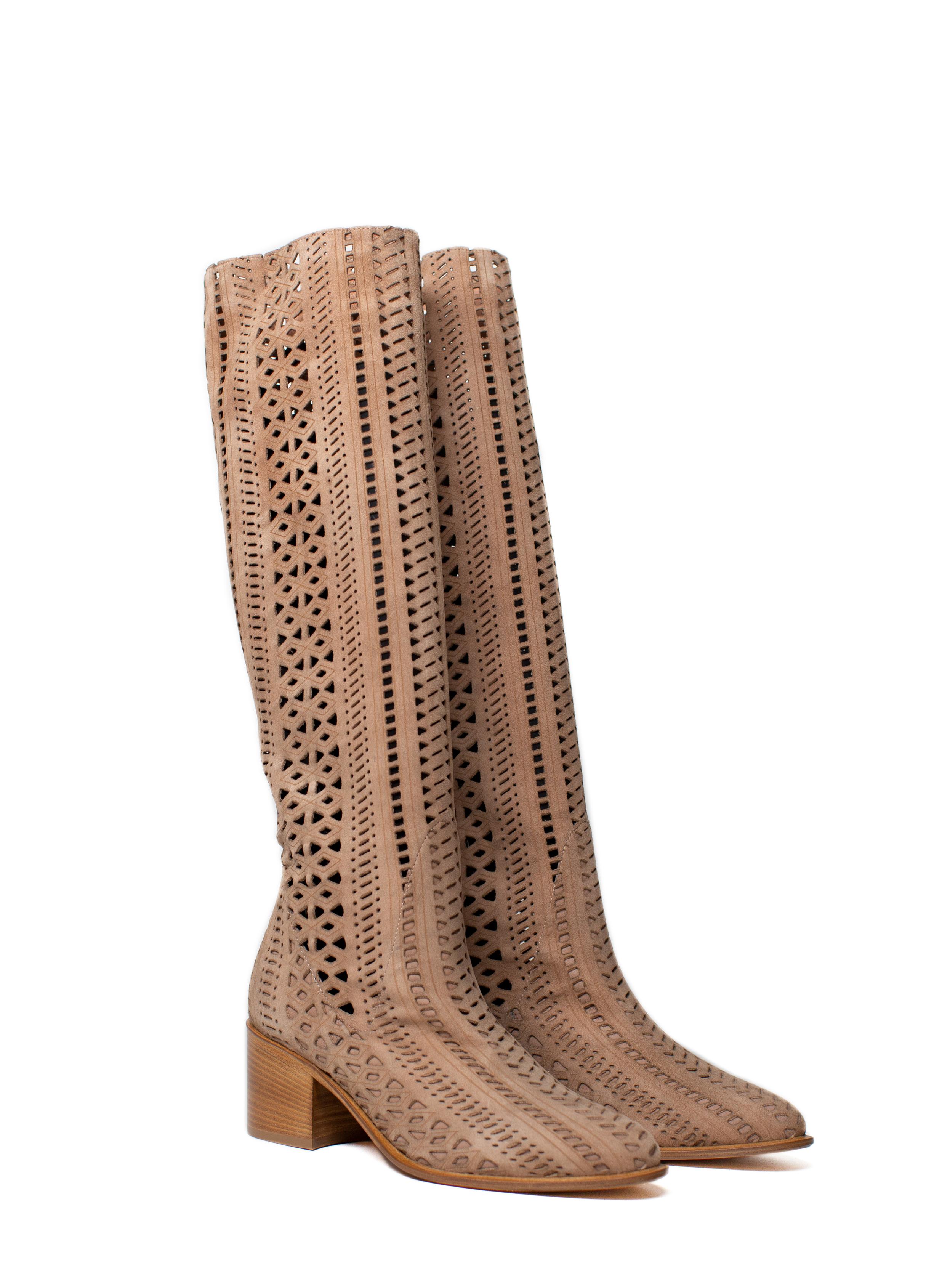 Overknee Boots Lasercut, beige
