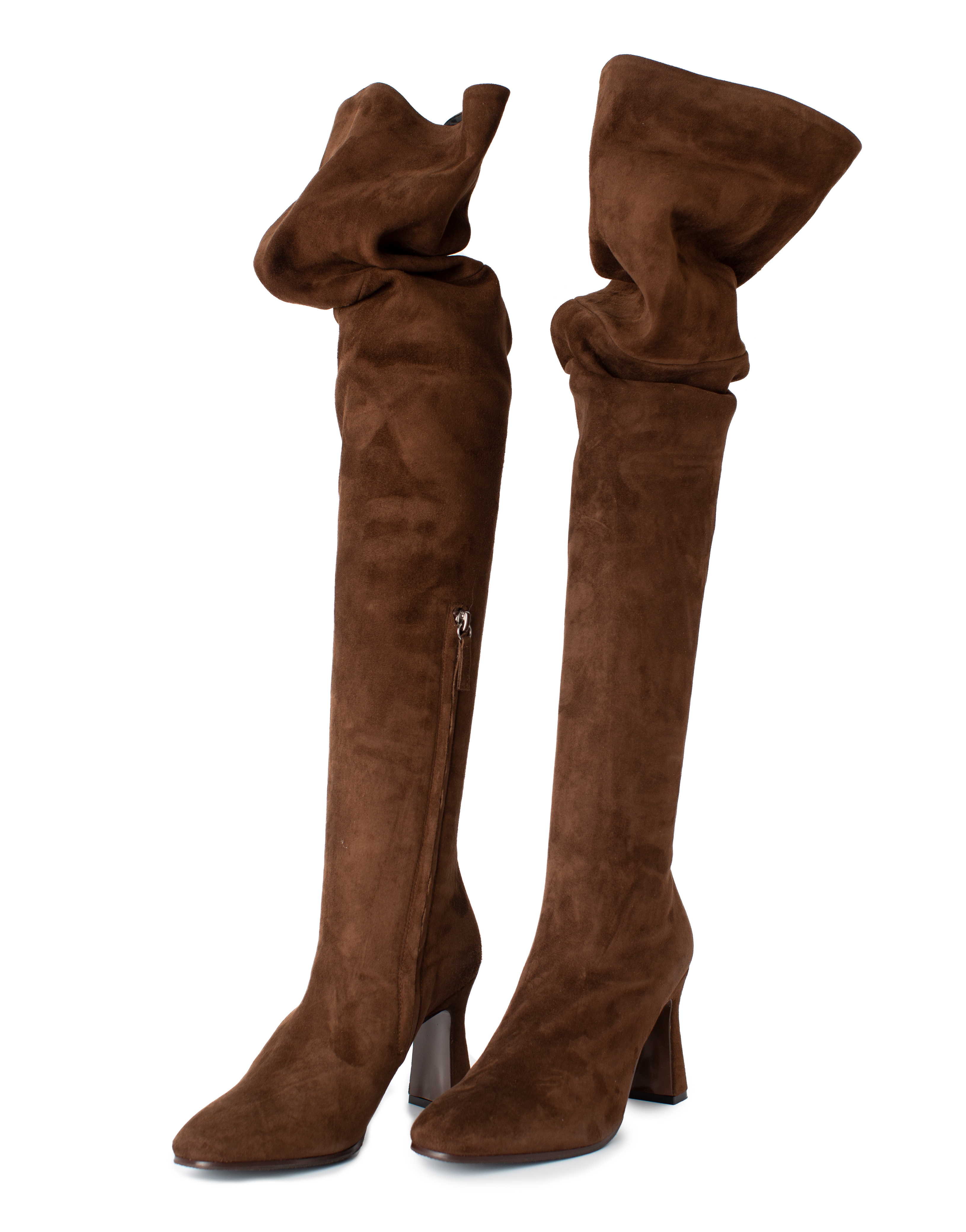 Overknee Boots Suede Leather, brown
