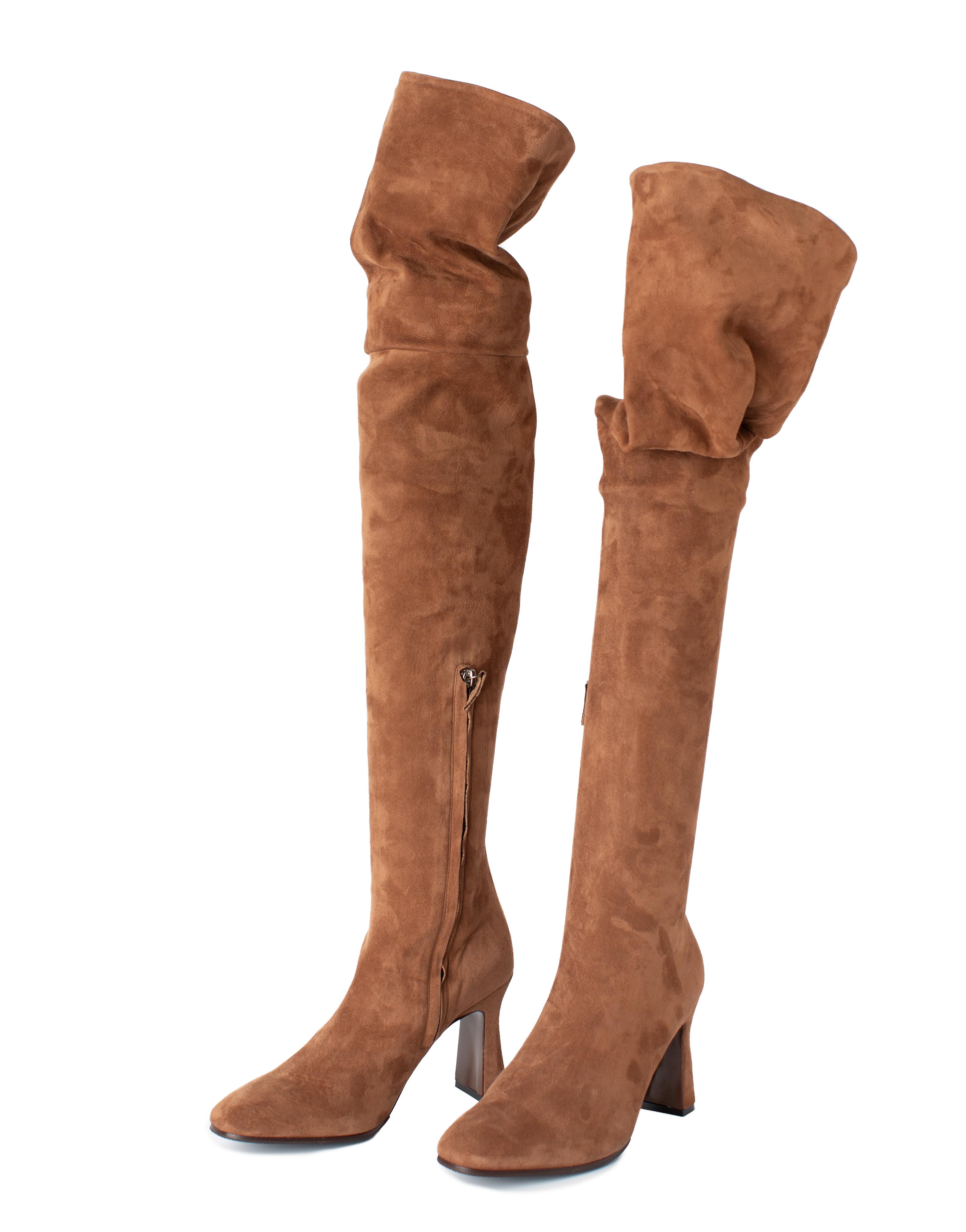 Overknee Boots Suede Leather, beige