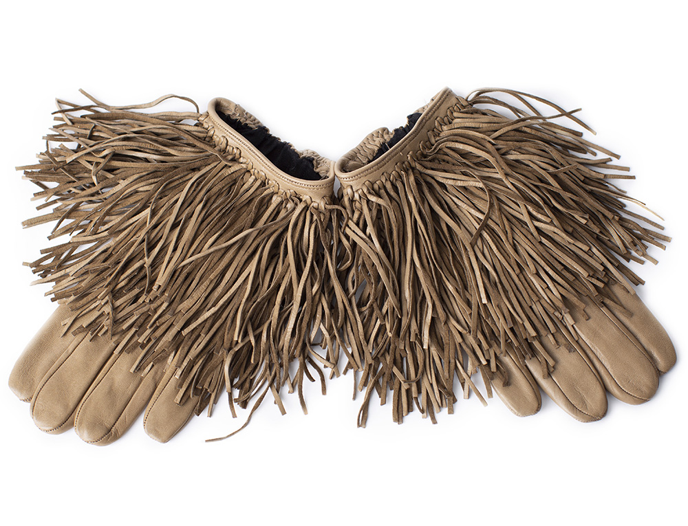 Gloves with fringe, dark beige