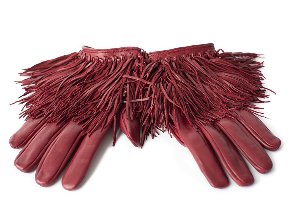 Gloves with fringe, red
