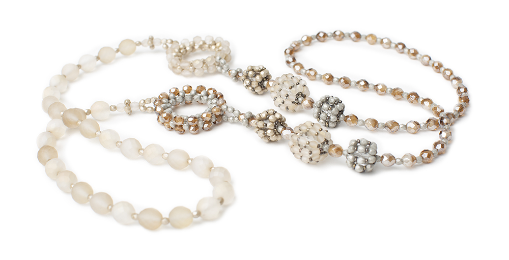 Necklace, crystal beads