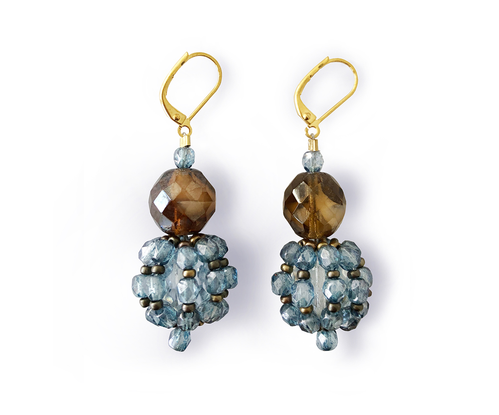 "Earrings ""Palline"" blue, crystal beads"