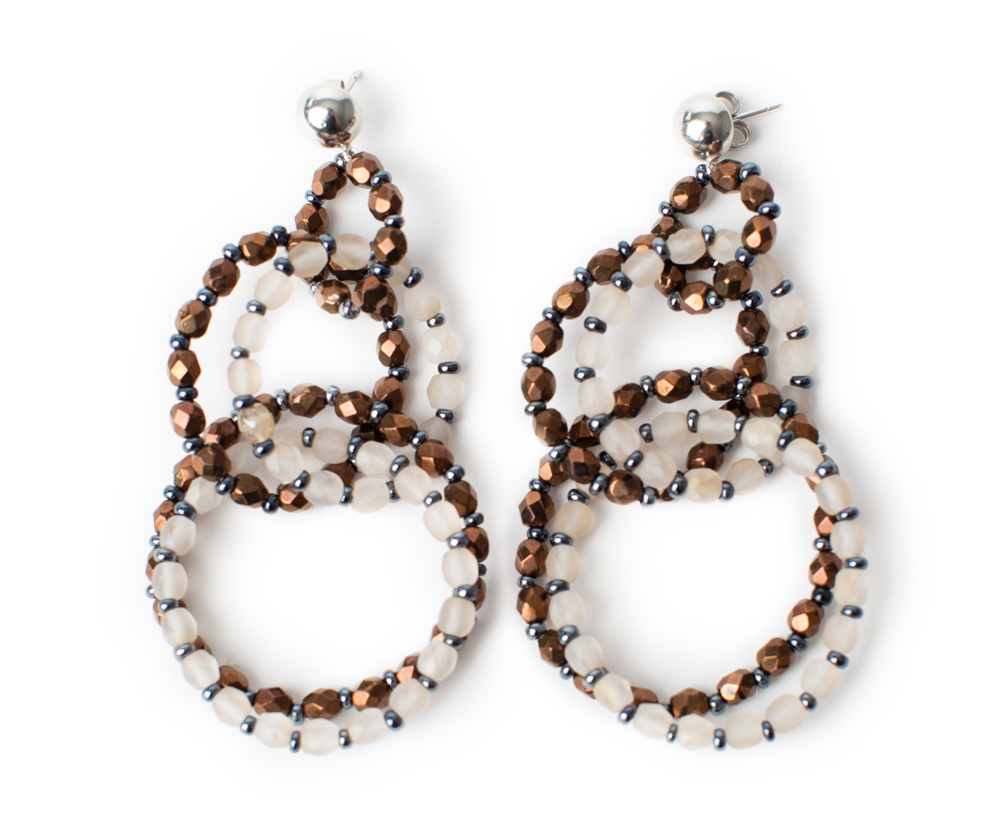 "Earrings ""Anelli"", crystal beads"