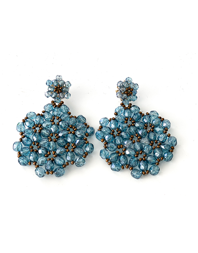 "Earrings ""Fiocco"", crystal beads blue"