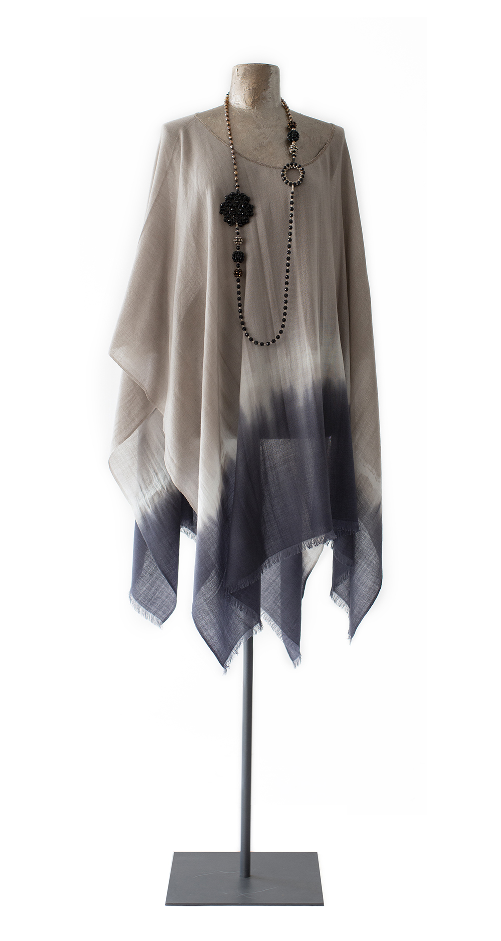 Poncho Tie-Dyed, taupe