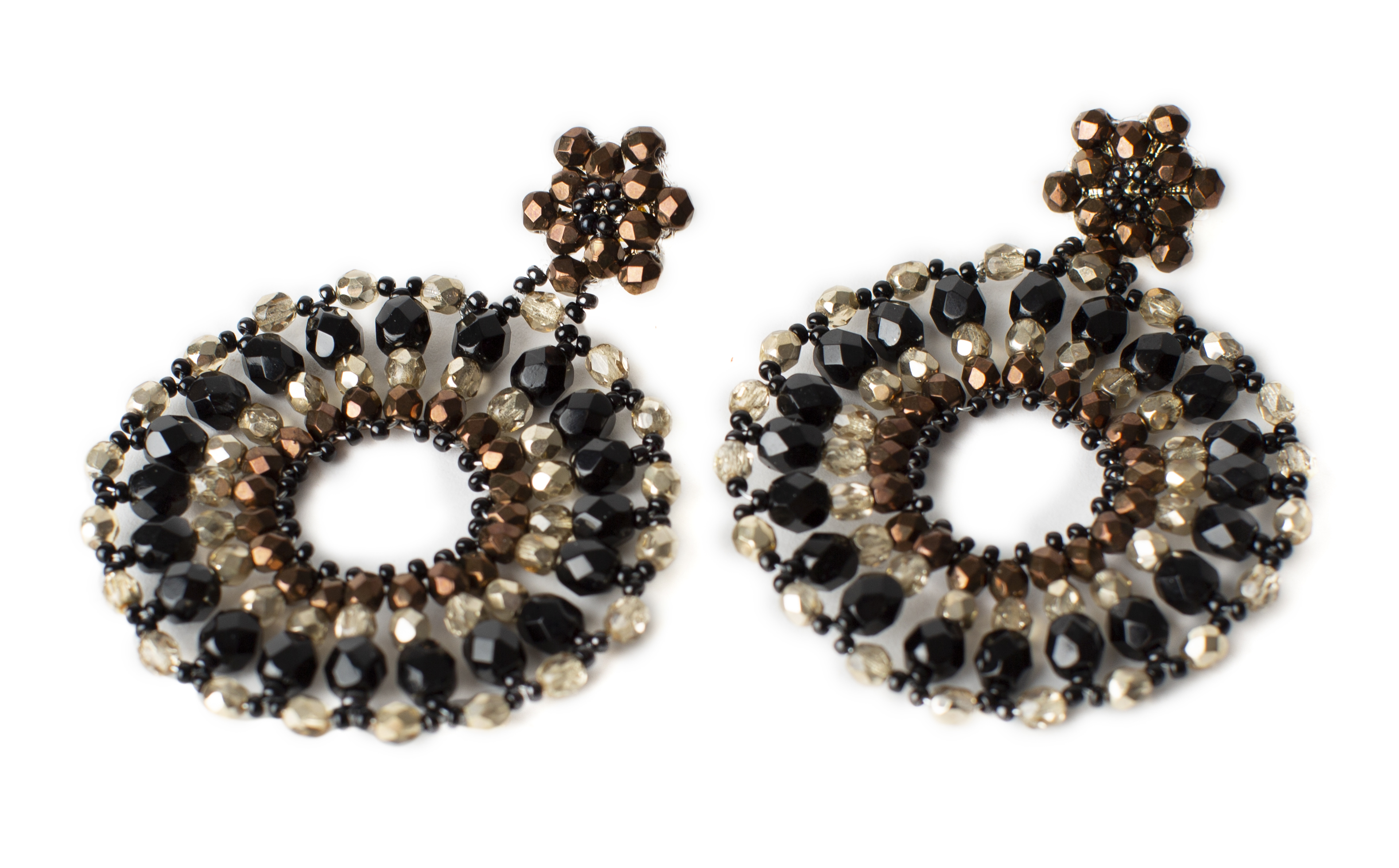 "Earrings ""Ruota"", crystal beads"