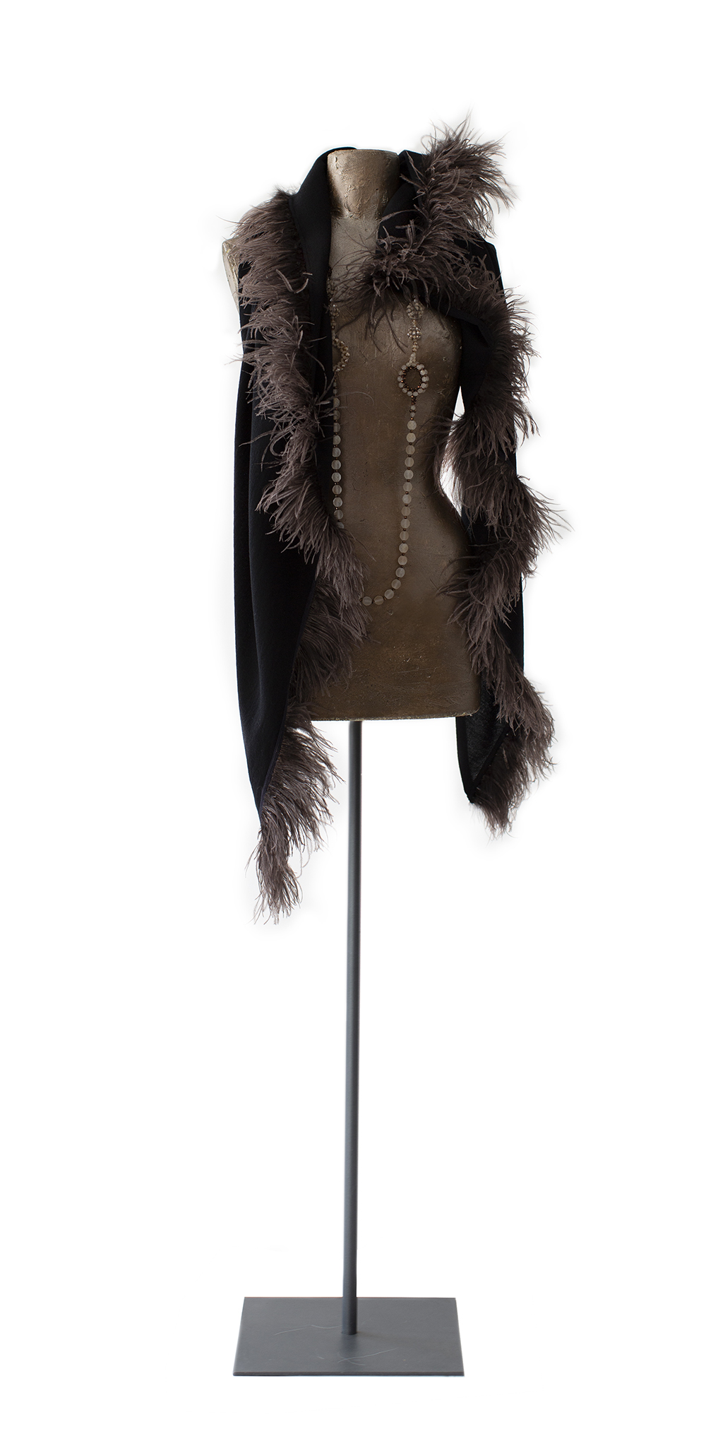 Stole with feathers, black