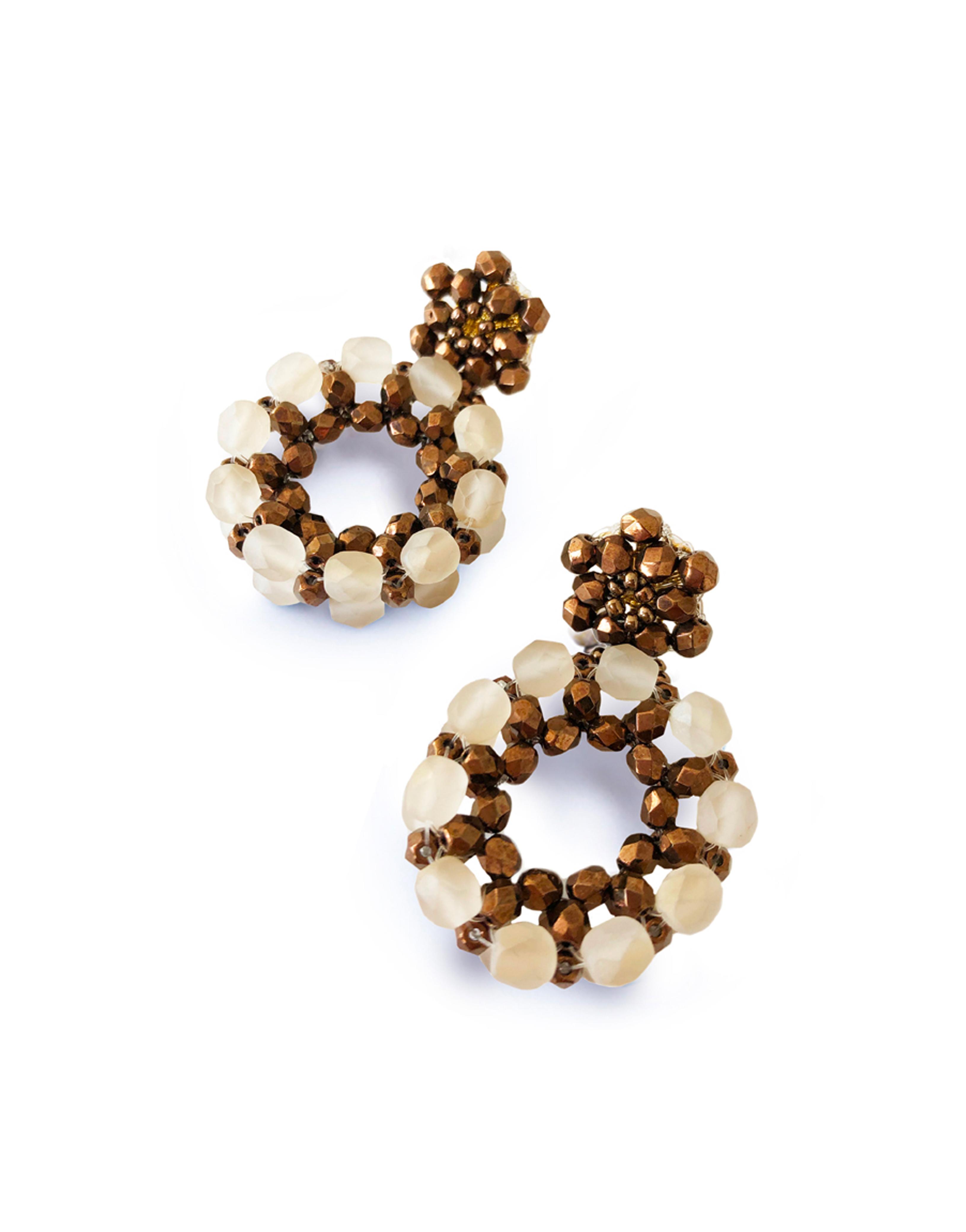 "Earrings ""Laguna"" offwhite, crystal beads"